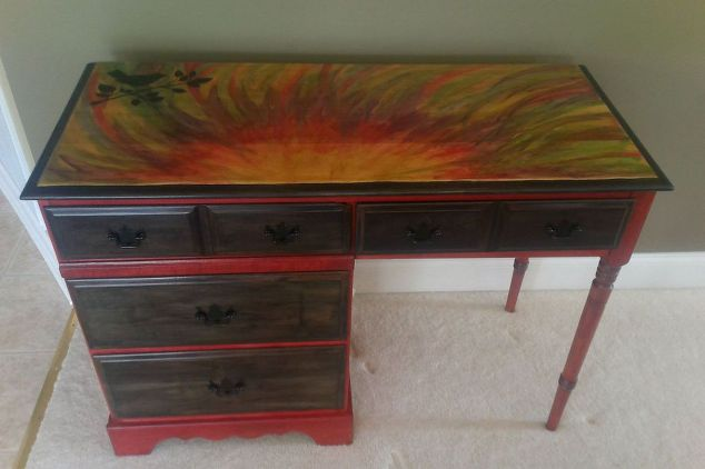 Furniture Upcycle challenge-unicorn-spit-used-to-brighten-up-a-maple-desk-painted-furniture #30dayflip