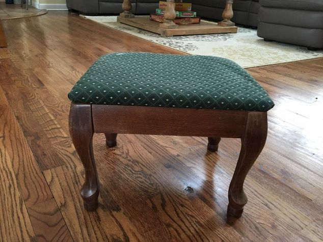 Furniture Upcycle / Ottoman / Breathing-new-life-into-an-old-foot-stool-my-30dayflip-for-march-how-to-painted-furniture-reupholster
