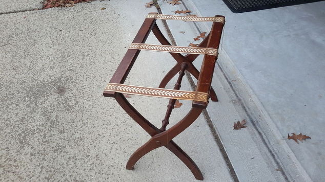 Furniture Upcycle / folding-luggage-Furniture Upcycle Luggage rack-to-rustic-herringbone-side-table-30dayflip-diy-how-to-painted-furniture #30dayflip