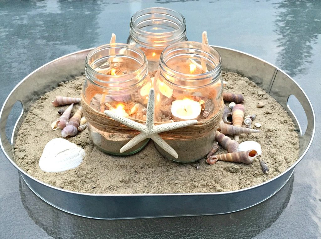 How to create a coastal beachy centerpiece using items you likely have lying around the house at apurdylittlehouse.com