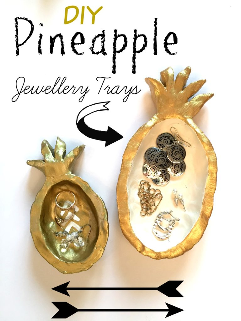Pineapple jewelery trays for your beside table. These fun DIY jewellery trays were made using quick dry clay at apurdylittlehouse.com