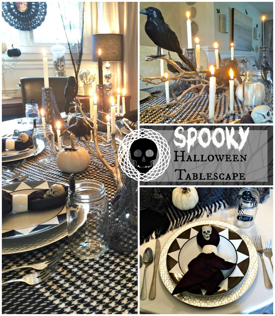 Spooky Halloween Tablescape ideas using mostly items from the dollar store and thrift stores. See all the scary details at apurdylittlehouse.com